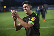 Forest Green Rovers Lloyd James(4) applauds the fans at the end of the match during the EFL Sky Bet League 2 match between Stevenage and Forest Green Rovers at the Lamex Stadium, Stevenage, England on 26 January 2019.