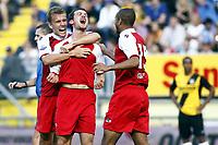 Fotball , 8. august 2010 , NAC Breda -  AZ Alkmaar <br /> <br /> <br /> erik falkenburg (m) viert zijn 0-1 doelpunt met pontus wernbloom (l) en simon poulsen (r)<br /> <br /> Norway only