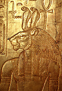 EGYPT, CAIRO, ANCIENT ART King Tut's (Tutankhamun) tomb; lion deity