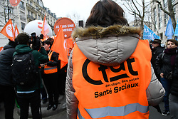 January 30, 2018 - Paris, France - People gather outside the French Ministry for Solidarity and Health in Paris on January 30, 2018 during a national day of action and strike by EHPAD (Establishment for the Housing of Elderly Dependant People) workers to demand more resources for the care of the elderly. (Credit Image: © Julien Mattia/NurPhoto via ZUMA Press)