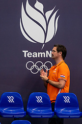 Coach Harry van der Meer of the Netherlands in action against Montenegro during the Olympic qualifying tournament. The Dutch water polo players are on the hunt for a starting ticket for the Olympic Games on February 19, 2021 in Rotterdam