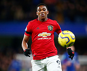 Manchester United's Anthony Martial in action during the English Premier League match between Chelsea and Manchester United, Monday, Feb. 17, 2020, at Stamford Bridge, in London, United Kingdom. Manchester United defeated Chelsea 2-0.  (Mitchell Gunn/Image of Sport)