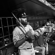 Jayson Werth, Washington Nationals, in the dugout preparing to bat during the New York Mets Vs Washington Nationals MLB regular season baseball game at Citi Field, Queens, New York. USA. 31st July 2015. Photo Tim Clayton