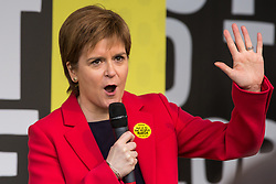 London, UK. 23rd March, 2019. Nicola Sturgeon, First Minister of Scotland, addresses a million people taking part in a People's Vote rally in Parliament Square following a march from Park Lane.