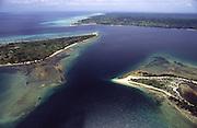 Aerial view of Nacalas coast, near Ilha de Mozambique. This coast boasts endless empty beaches and pristine landscape