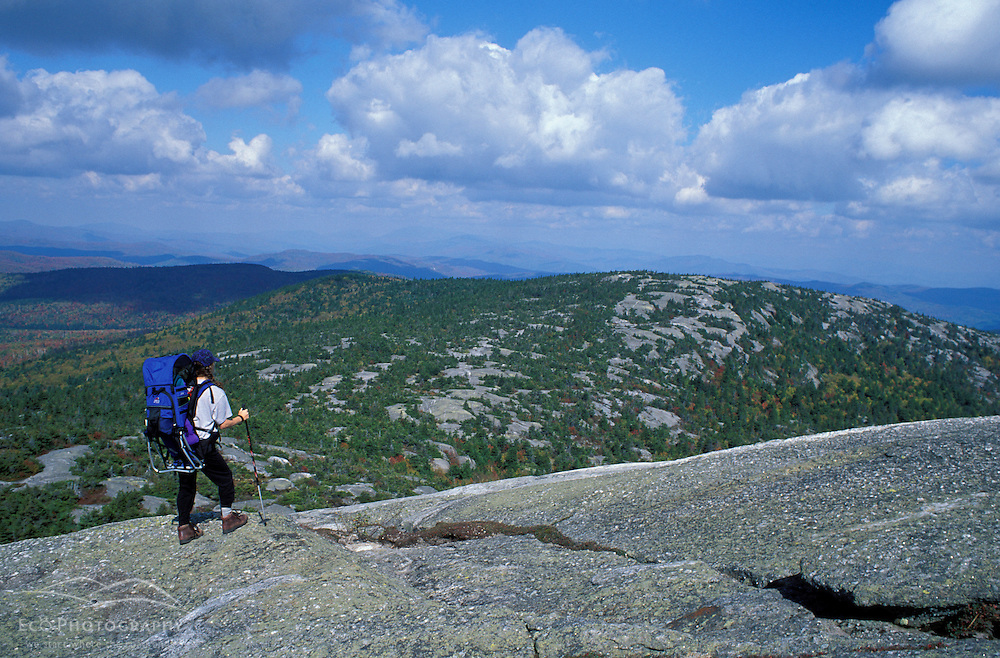 Marcy and Cadie looking north from Mt. Cardigan.  Alexandria, NH