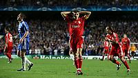Photo: Paul Thomas.<br /> Chelsea v Liverpool. UEFA Champions League. Semi Final, 1st Leg. 25/04/2007.<br /> <br /> Dejected Steven Gerrard of Liverpool after he misses a great goal scoring chance.