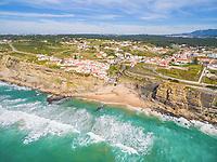 Aerial view of beach and cliffs next to Azenhas do Mar Village.