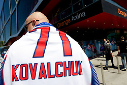 Fan of Ilya Kovalchuk of Russia prior to the ice-hockey match between Austria and Slovenia of Group G in Relegation Round of IIHF 2011 World Championship Slovakia, on May 7, 2011 in Orange Arena, Bratislava, Slovakia. Austria defeated Slovenia 3-2. (Photo By Vid Ponikvar / Sportida.com)