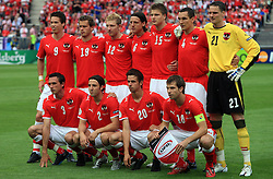Team of Austria before the UEFA EURO 2008 Group B soccer match between Austria and Croatia at Ernst-Happel Stadium, on June 8,2008, in Vienna, Austria.  (Photo by Vid Ponikvar / Sportal Images)