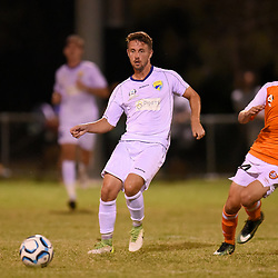 BRISBANE, AUSTRALIA - FEBRUARY 10: James Coutts of United passes the ball during the NPL Queensland Senior Mens Round 2 match between Gold Coast United and Brisbane Roar Youth at Station Reserve on February 10, 2018 in Brisbane, Australia. (Photo by Football Click / Patrick Kearney)