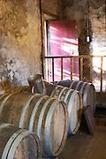 Chateau Pech-Redon. La Clape. Languedoc. Barrel cellar. France. Europe.