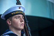 A German Navy sailor is standing guard prior to a meeting of The German Chancellor Angela Merkel , and the French President Emmanuel Macron at the chancellery in Berlin, as part of Macron first official visit as President to Germany, on  Monday, May 15, 2017. (Photo by Omer Messinger)