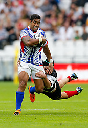 Samoa Winger Ken Pisi is tackled by Barbarians Flanker Liam Gill (Queensland Reds & Australia) - Mandatory byline: Rogan Thomson/JMP - 07966 386802 - 29/08/2015 - RUGBY UNION - The Stadium at Queen Elizabeth Olympic Park - London, England - Barbarians v Samoa - International Friendly.