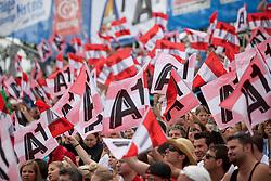 05-08-2011 VOLLEYBAL: FIVB WORLD TOUR GRANDSLAM: KLAGENFURT<br /> super Publikum, public flags<br /> ©2011-FotoHoogendoorn.nl / Gert Steinthaler