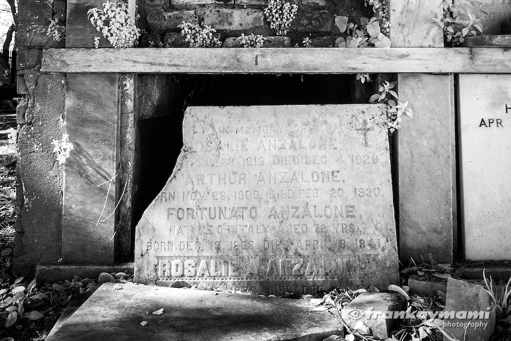 Infrared images of tombs at Lafayette #2 Cemetery in New Orleans, LA