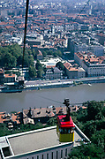 Cable car with view over city centre of Grenoble, France 1974