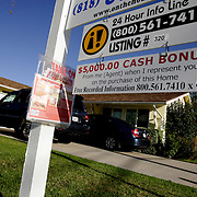 LOS ANGELES, CA, September 26, 2007: The housing market across the nation shows continued signs of weakness as more homes, including foreclosures, are for sale in Los Angeles on September 26, 2007. Realtors are offering cash incentives to draw buyers to homes like this one. (Photo by Todd Bigelow/Aurora)