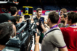 Goran Dragic of Slovenia with journalists at practice session of Team Slovenia 1 day before final match against Serbia at Day 17 of FIBA EuroBasket 2017 at Sinan Erdem Dome in Istanbul, Turkey on September 16, 2017. Photo by Vid Ponikvar / Sportida