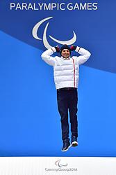 DAVIET Benjamin FRA LW2, ParaBiathlon, Para Biathlon, Podium at  the PyeongChang2018 Winter Paralympic Games, South Korea.