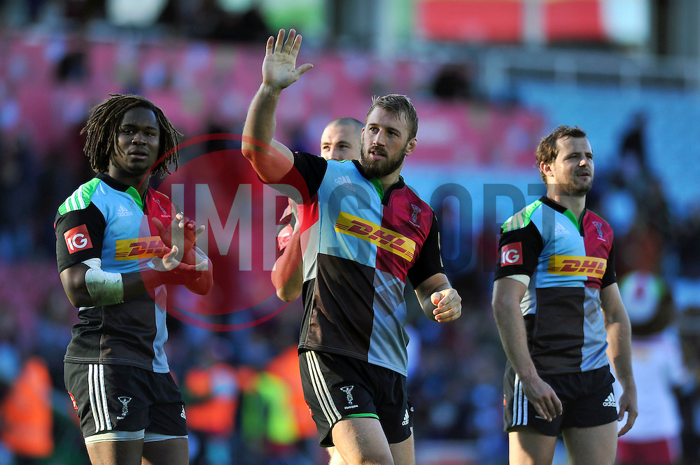 Chris Robshaw of Harlequins waves to the crowd after the match - Photo mandatory by-line: Patrick Khachfe/JMP - Mobile: 07966 386802 04/10/2014 - SPORT - RUGBY UNION - London - The Twickenham Stoop - Harlequins v London Welsh - Aviva Premiership
