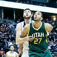 20 November 2016: Utah Jazz center Rudy Gobert (27) vies for the rebound with Denver Nuggets center Jusuf Nurkic (23) during the Denver Nuggets 105-91 victory over the Utah Jazz, at the Pepsi Center, Denver, Colorado, USA.