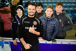 Gareth Steenson of Exeter Chiefs with Exeter Chiefs fans - Mandatory by-line: Dougie Allward/JMP - 30/11/2019 - RUGBY - Sandy Park - Exeter, England - Exeter Chiefs v Wasps - Gallagher Premiership Rugby