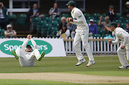 Paul Horton catches Luis Reece at slip during the Specsavers County Champ Div 2 match between Leicestershire County Cricket Club and Derbyshire County Cricket Club at the Fischer County Ground, Grace Road, Leicester, United Kingdom on 27 May 2019.