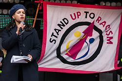 London, UK. 16th March, 2019. Claudia Webbe, Labour Party NEC member, addresses thousands of people on the March Against Racism demonstration on UN Anti-Racism Day against a background of increasing far-right activism around the world and a terror attack yesterday on two mosques in New Zealand by a far-right extremist which left 49 people dead and another 48 injured.