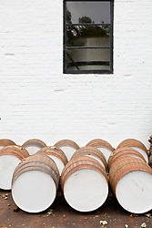 Whisky barrels distillery many oak white
