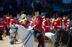 The Duke of Cambridge, Colonel of the Irish Guards, parading down the mall in Central London during the Colonel's Review, the final rehearsal of the Trooping the Colour, the Queen's annual birthday parade.