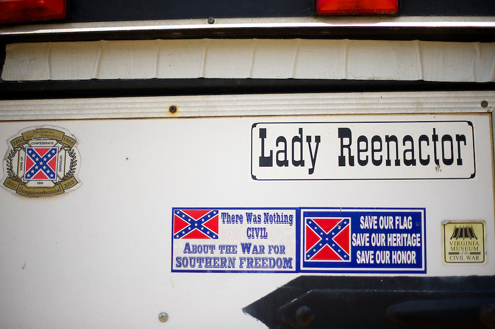 A trailer is ornamented with Confederate themed stickers on the final day of a four day Gettysburg Anniversary Committee 150th Gettysburg reenactment in Gettysburg, PA on July 7, 2013.
