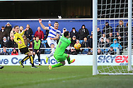 Queens Park Rangers forward Conor Washington (9) scoring 1-2 during the EFL Sky Bet Championship match between Queens Park Rangers and Burton Albion at the Loftus Road Stadium, London, England on 28 January 2017. Photo by Matthew Redman.