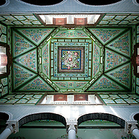 Tunis, Tunisia 27 October 2011<br /> Painted ceiling, Bey's House carpet shop, Kairouan.<br /> Photo: Ezequiel Scagnetti