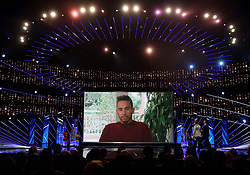 Lewis Hamilton speaks via video link during the BBC Sports Personality of the Year 2017 at the Liverpool Echo Arena.