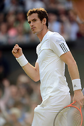 © London News Pictures.. 03/07/2013. Andrew Murray, GB defeats Fernando Verdasco, Spain in the men's quarter finals at the 2013 Wimbledon Lawn Tennis Championships . Andy Murray went on to win in the final becoming the first British male to win the tournament in 77 years. Photo credit: Mike King/LNP