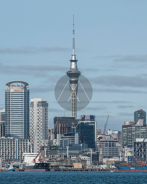 Auckland, New Zealand - 04 March 2019: View of Auckland skyline with the Sky Tower facing the bay, New Zealand.