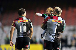 A general view of Joe Marler of Harlequins and his son after the match - Mandatory byline: Patrick Khachfe/JMP - 07966 386802 - 06/11/2015 - RUGBY UNION - The Twickenham Stoop - London, England - Harlequins v Sale Sharks - Aviva Premiership.