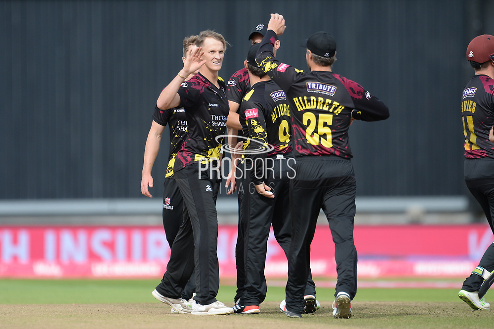 Max Waller and Somerset celebrate the wicket of Delray Rawlins during the Vitality T20 Finals Day semi final 2018 match between Sussex Sharks and Somerset County Cricket Club at Edgbaston, Birmingham, United Kingdom on 15 September 2018.
