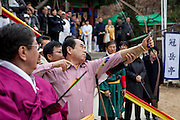 Korean traditional archery club in Seoul during a seasons event.