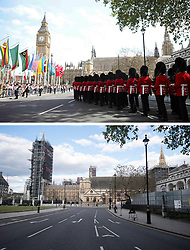 File photo dated 10/05/15 showing Guardsmen of the Scots Guards marching during the VE Day Parade to mark the 70th anniversary of VE Day, celebrating VE (Victory in Europe) Day in London, marking the end of the Second World War in Europe now 75 years ago, and how it looked 2/5/2020.