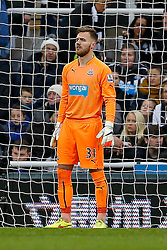 Half Time Replacement Goalkeeper Jak Alnwick of Newcastle United, in his first Premier League appearance - Photo mandatory by-line: Rogan Thomson/JMP - 07966 386802 -06/12/2014 - SPORT - FOOTBALL - Newcastle, England - St James' Park - Newcastle United v Chelsea - Barclays Premier League.