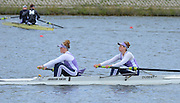 Reading. United Kingdom.  GBR W2-.  Charlotte DRURY and Isobel CURRIE, in the opening strokes of the morning time trial. 2014 Senior GB Rowing Trails, Redgrave and Pinsent Rowing Lake. Caversham.<br /> <br /> 10:51:50  Saturday  19/04/2014<br /> <br />  [Mandatory Credit: Peter Spurrier/Intersport<br /> Images]