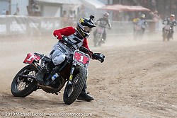 Hooligan flattracker Andy DiBrino (no. 1) in the Hooligan races on the temporary track in front of the Sturgis Buffalo Chip main stage during the Sturgis Black Hills Motorcycle Rally. SD, USA. Wednesday, August 7, 2019. Photography ©2019 Michael Lichter.