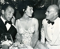 1952 Frank Sinatra and Ava Gardner chat with Col. Jack Avery at the Mocambo Nightclub on Sunset Blvd.
