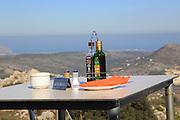 Terrace restaurant reserved table with view, Mirador del Coll de Rates, Tarbena, Marina Alta, Alicante province, Spain
