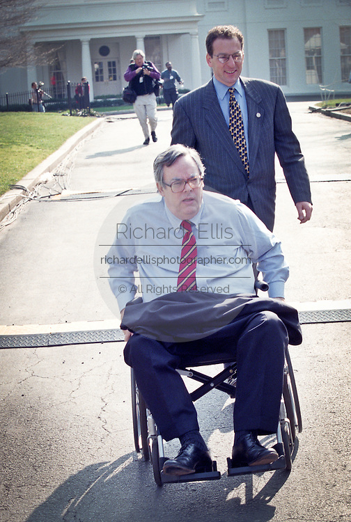 Chief White House Counsel Charles Ruff leaves the White House after telling President Clinton that the Senate acquitting him of impeachment charges February 12, 1999.