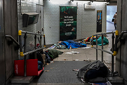 FILE IMAGE © Licensed to London News Pictures. 29/10/2019. London, UK. Homeless men sleep in a makeshift home in Westminster Station and less than 100 yards from the Houses of Parliament. Pictures highlight the reality of homelessness in Westminster taken during the build up of Brexit and the General election just yards from Parliament and Whitehall. Photo credit: Alex Lentati/LNP