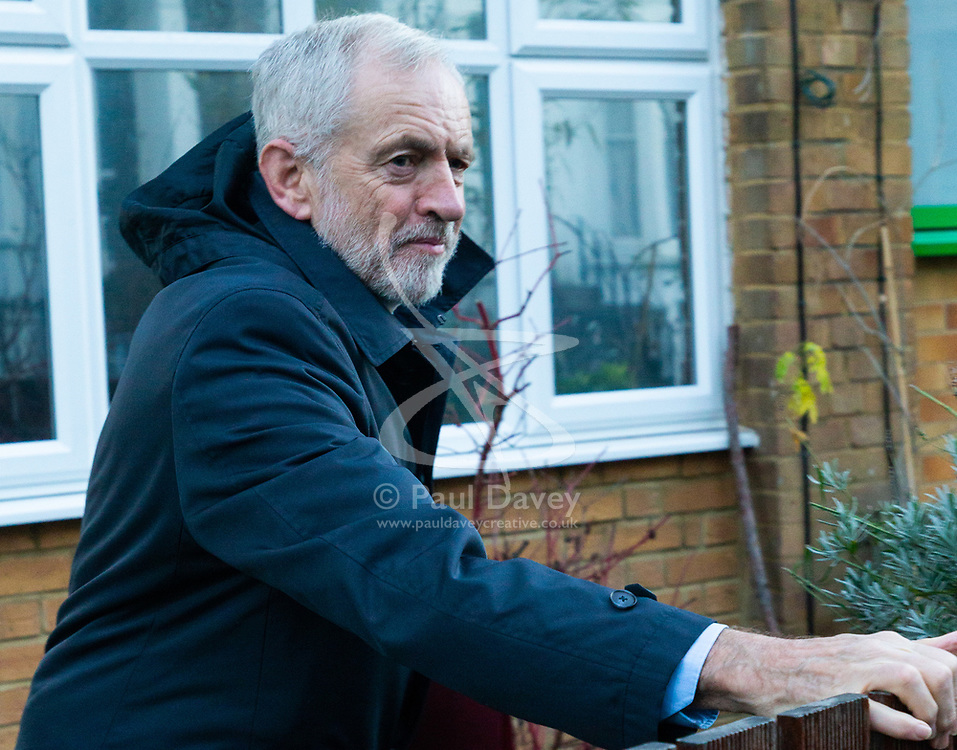 "Jeremy Corbyn leaves his home this morning in the wake of accusations that he called Prime Minister Theresa May ""stupid woman"". London, December 20 2018."