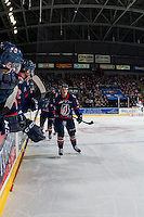 KELOWNA, CANADA - JANUARY 27: Rudolfs Balcers #21 of the Kamloops Blazers celebrates a goal against the Kelowna Rockets on January 27, 2017 at Prospera Place in Kelowna, British Columbia, Canada.  (Photo by Marissa Baecker/Shoot the Breeze)  *** Local Caption ***